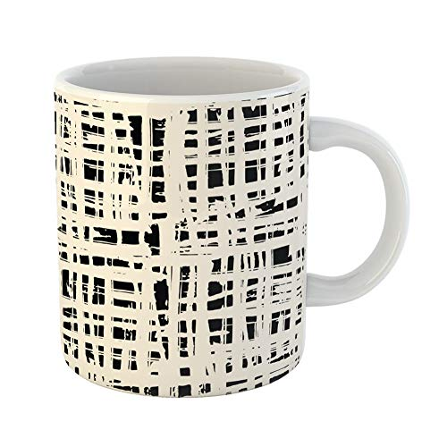 Emvency Coffee Tea Mug Gift 11 Ounces Funny Ceramic Black White Grid Pattern Shibori Line Organic Net Watercolor Tie Dye Geometric Gifts For Family Friends Coworkers Boss Mug