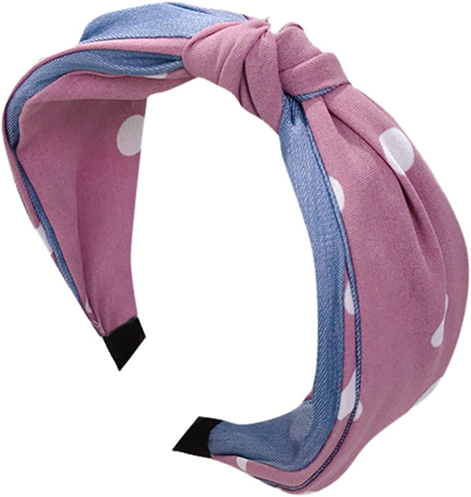 Hairband for Women Denim Fabric Color Knotted Wide-Brimmed Headband Fabric Dot Hairband Head Wrap Hair Band Accessories