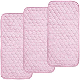 BlueSnail Bamboo Quilted Thicker Waterproof Changing Pad Liners, 3 Count (Pink)