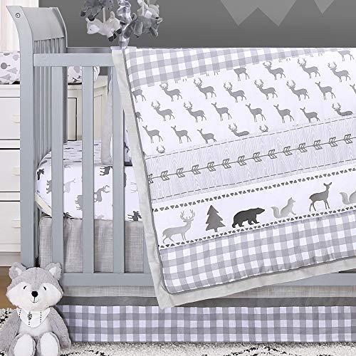 - Forest Dream 3 Piece Baby Crib Bedding Set - Grey Woodland Animal Theme