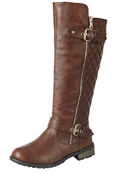 Review Forever Link Women's MANGO-21 Quilted Zipper Accent Riding Boots