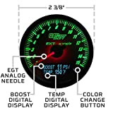GlowShift 3in1 Analog 1500 F Pyrometer EGT Gauge