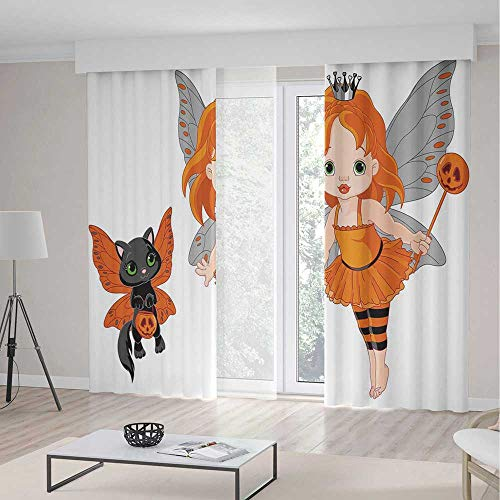 YOLIYANA Window Curtains Halloween Halloween Baby Fairy and Her Cat in Costumes Butterflies Girls Kids Room Decor Decorative -
