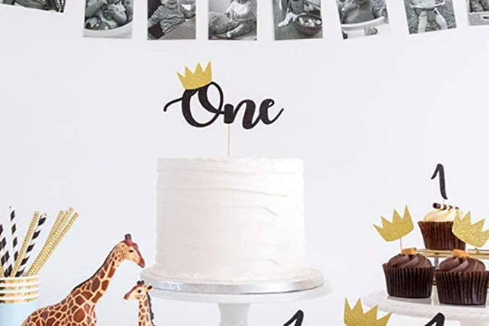 Age ONE Birthday Cake Topper Wild Crown One First Boy