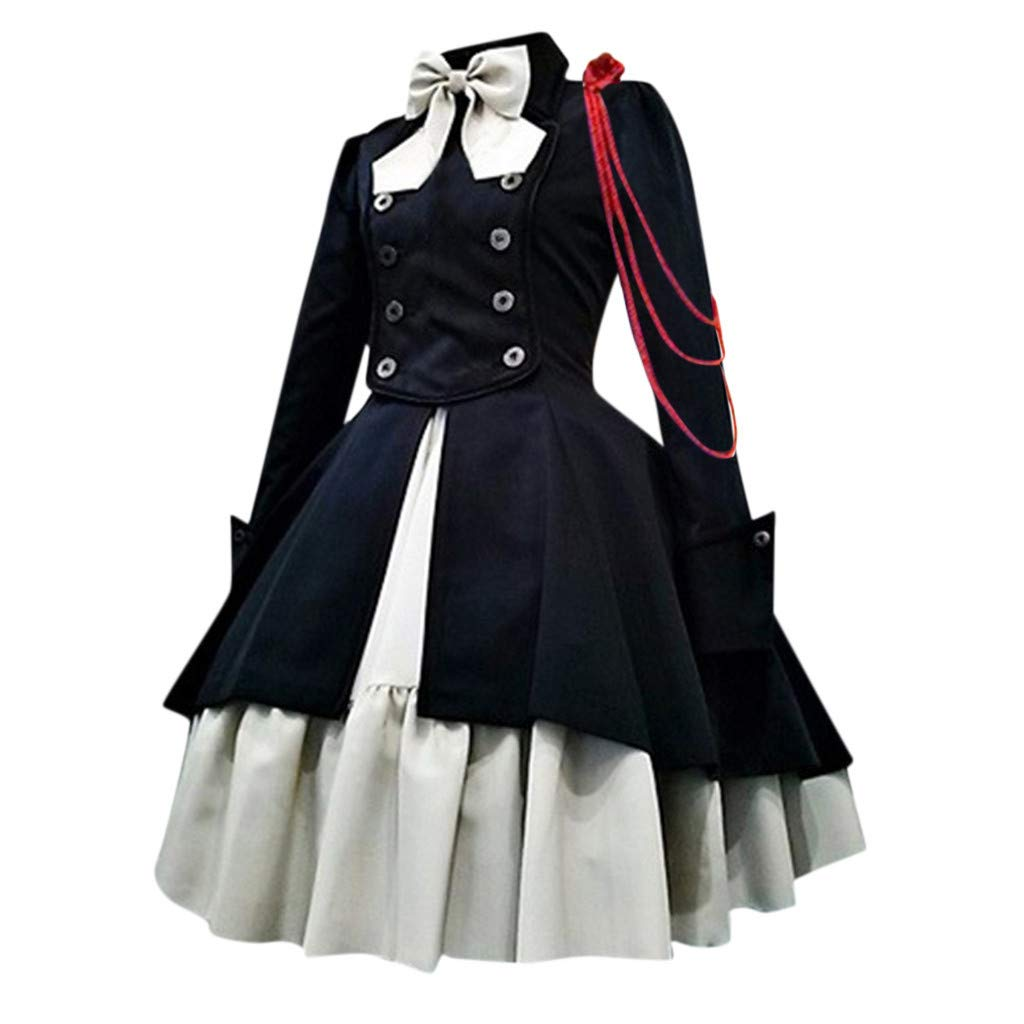 Women's Gothic Dress,Ladies Long Sleeve Vintage Bow Patchwork Swing Plus Size Princess Dress by Cobcob