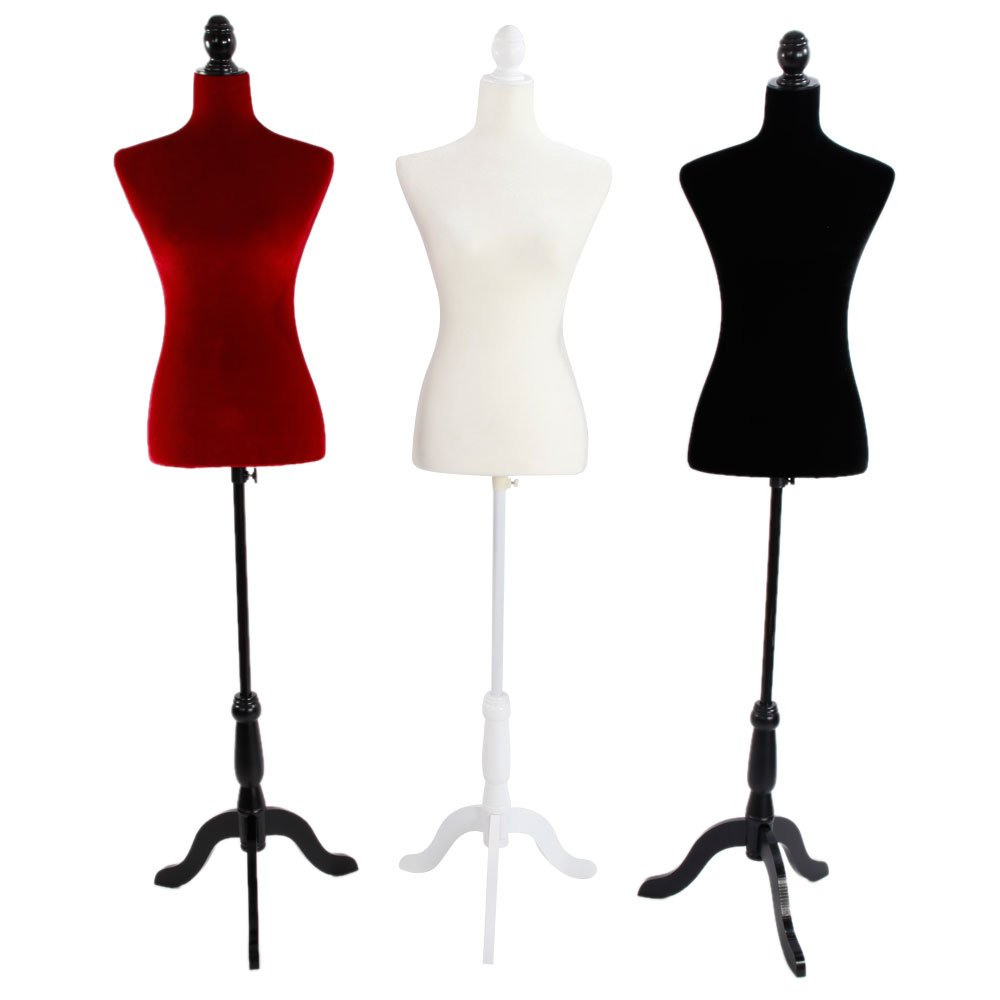 Mefeir Female Mannequin Torso with Wooden Tripod Stand Base, Height Adjustable Black Dress Form Clothing Display