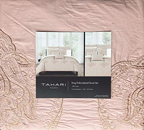 Paisley Copper (Tahari Home Maison Bedding 3 Piece King Size Luxury 3 Piece Duvet Comforter Cover Shams Set Raised Embroidered Textured Paisley Medallion Pattern in Copper Metallic Thread on a Blush Pink Background)