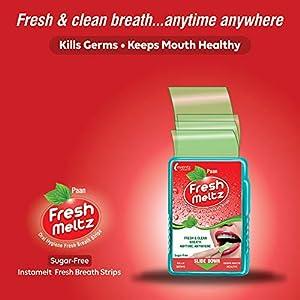 FRESH MELTZ Oral Hygiene Mouth Freshener Sugar Free Paan & Mint Flavoured Breath Strips (20 Strips) – Mint 3Pk + Paan…