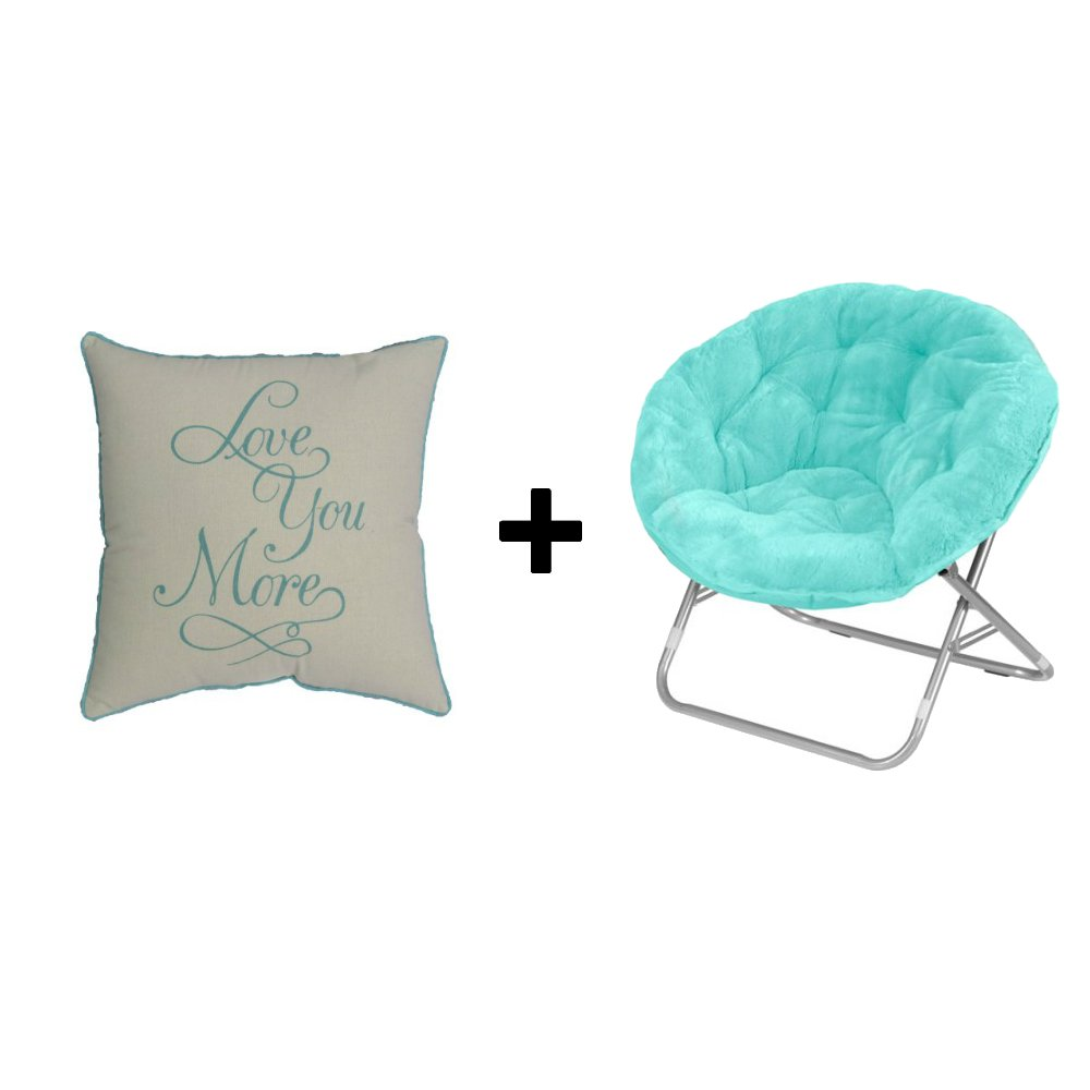 Faux Fur Folding Saucer Chair in Wind Aqua + Home Decor Pillow Love You More in Aqua - Bundle Set