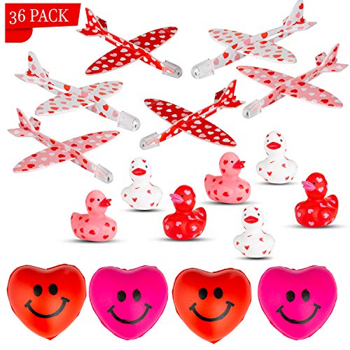 Favonir Valentines Day Party Favors 36-Pack – 12 x Adorable Mini Valentine Rubber Duckies, 12 x Foam Mini Heart Print…
