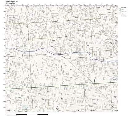 Amazon.com: ZIP Code Wall Map of Southfield, MI ZIP Code Map