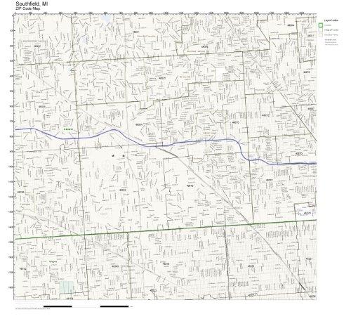 ZIP Code Wall Map of Southfield, MI ZIP Code Map Laminated
