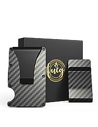 Carbon Fiber Credit Card Holder Wallet & Money Clip RFID Blocking Men Slim Bundle Set of 2 Pieces - By Fuego Brand