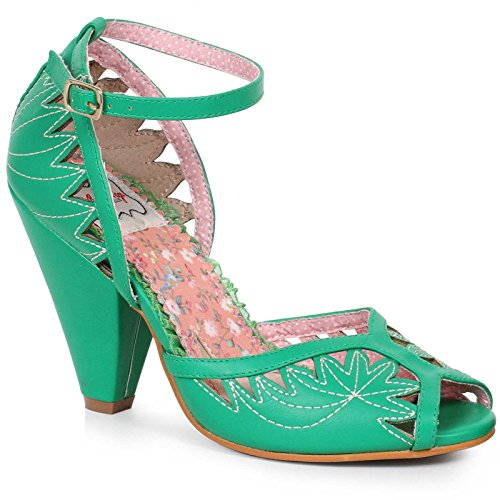 Ellie Shoes E-BP403-Willow Open Toe Stitching Detail Ankle Strap Heel Green / 11
