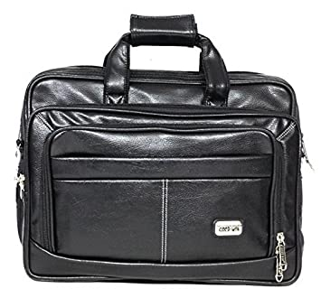Handcuffs 12.5 Litres Black leather Office Bag For Men- 16 Inch ...