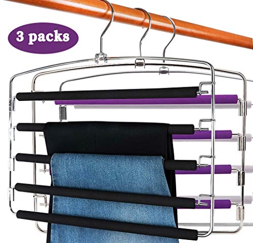 Centralocker Multi-Layer Steel Pants Hanger Metal Frame Swing Arm Slack Trousers Jeans Neckties Rack Space Saver for Wardrobe 3-Pack