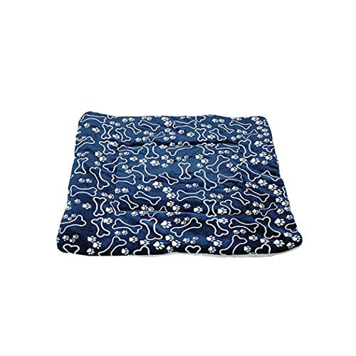 - Sunny-Aha Pet Dog Bed|Blanket Pet Bed Mat Paw Print Puppy House for Cat Fleece Lounger Dogs,Blue Bone,50X30Cm