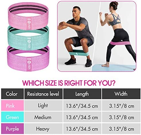 Te-Rich Resistance Bands for Legs and Butt, Fabric Workout Bands, Women/Men Stretch Exercise Loops, Thick Wide Non-Slip Gym Bootie Band 3 Set for Squat Glute Hip Training 7