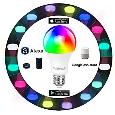 Tonbux Alexa Smart LED Bulb, Work with Echo and Google Home, No Hub Required WiFi Color Light Bulbs(10W) A21, Phone Controll and RGBW Tunable