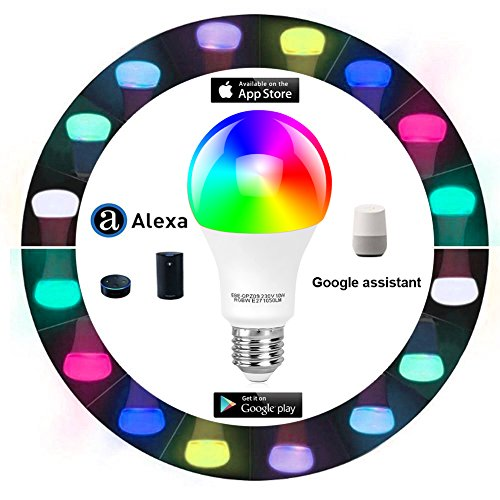 Tonbux Alexa Smart LED Bulb, Work with Echo and Google Home, No Hub Required WiFi Color Light Bulbs(10W) A21, Phone Controll and RGBW Tunable (60W Equivalent) by TONBUX