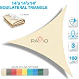 Patio Paradise 14' x14'x 14' Beige Sun Shade Sail Triangle Canopy - Permeable UV Block Fabric Durable Outdoor - Customized Available