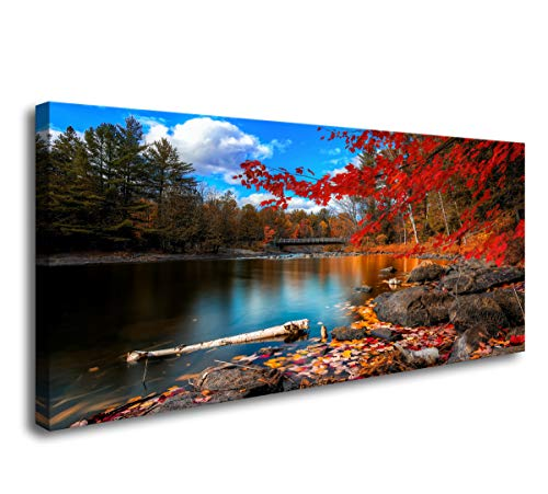 (S72650 Canvas Wall Art Canvas Artwork Lake Mountain Red Maple Leaf National Park Nature Pictures for Living Room Bedroom Office Wall Decor Home Decoration)