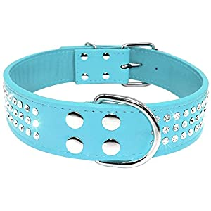 "Beirui Rhinestones Dog Collar - Leather Made with Sparkly Crystal Diamonds Studded - Shining Pet Apprearance for Medium & Large Dog Walking - Sky Blue,16-19""(22"")"