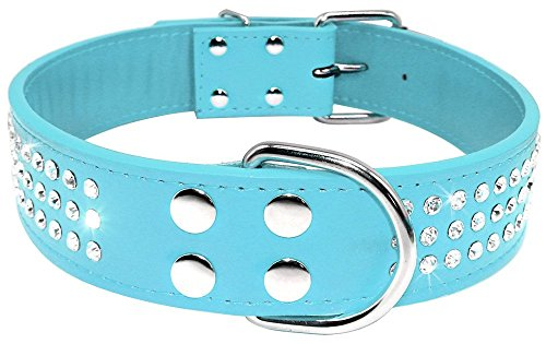 Beirui Rhinestones Dog Collar - Leather Made with Sparkly Crystal Diamonds Studded - Shining Pet Apprearance for Medium & Large Dog Walking - Sky Blue,18-21
