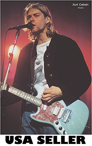 Kurt Cobain of Nirvana with red guitar POSTER 23.5 x 34 Dave Grohl (sent FROM USA in PVC -