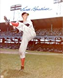 "Ewell Blackwell (""The Whip"" D. 1996) Autographed /Original Signed 8x10 Photo Showing Him Pitching for the Cincinnati Reds in the 1940s/ Early '50s - Impressive Photo Showing His Unique Pitching Motion"