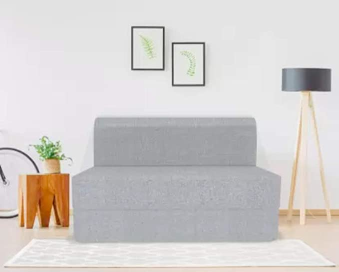 Coirfit Jute Fabric Washable Cover 3 Seater Folding Sofa Cum Bed  Grey, 5' X 6' Feet  Sofas   Couches