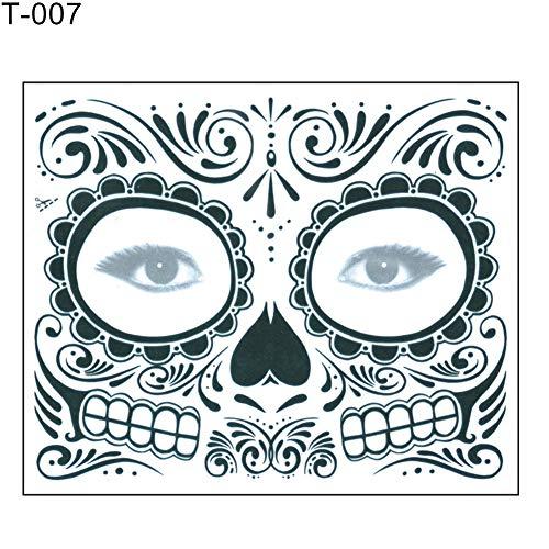 CHoppyWAVE Halloween Skull Face Sticker Zombie Waterproof Temporary Makeup Art Fake Tattoo - T-007 ()