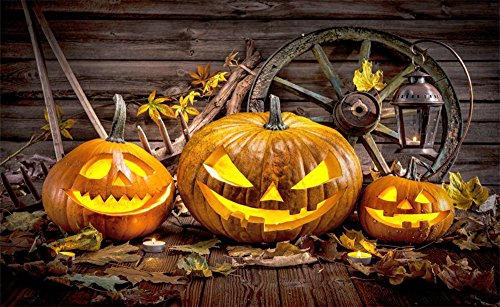Leowefowa 7X5FT Halloween Backdrop Old Barn Scary Grimace Pumpkin Lantern Wooden Wheel Backdrops Maple Leaves Grunge Wooden Wall Vinyl Photo Background Autumn Backdrop Costume Party Studio Props -