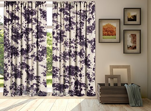 Indian Curtains Shibori Tie Dye Curtain 2 PC Set Cotton Bohemian Room Divider Window Hanging Tab Top Lopps Hanger Valances By Shree Jinvaram