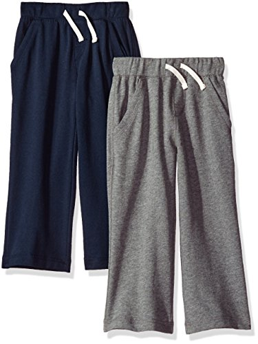 5t Cotton (Gerber Graduates Baby Toddler Boys' 2 Pack Pants, Navy/Heather, 5T)