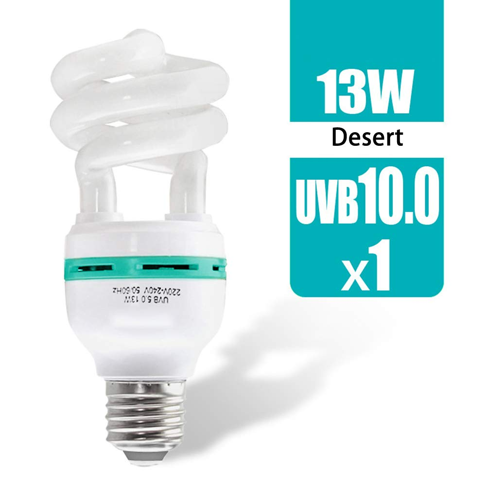 UVB10.0Desert UVB Reptile Light Bulb, Compact Fluorescent Desert Tropical Terrarium Lamp for Reptile Calcium Supplement,13watts,UVB10.0Desert