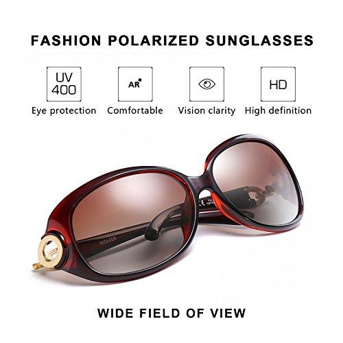 Moda Sol para Protección 100 Mujer Grandes UV Gafas De Oscuro Polarizadas q5t1OO