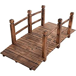 New 5'' Wooden Bridge Stained Finish Solid Wood Garden Pond Arch Outdoor Walkway Backyard Plank Garden Decorative Yard Landscape
