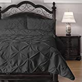 3-Piece Pinch Pleat Comforter Set - Goose Down Alternative Filling - Perfect for Autumn/Winter, King, Charcoal