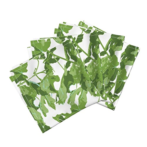 Fig Leaf Monstera Peter Dunham Caitlin Wilson Schumacher Lee Jofa Fig Linen Cotton Dinner Napkins Fig, Fig Leaf, Leaf, Fiddle by Jenlats Set of 4 Dinner (Fiddle Dinner)