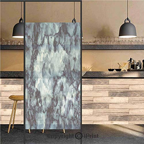 3D Decorative Privacy Window Films,Antique Marble Stone with Blurry Distressed Motley Fractal Effects Illustration,No-Glue Self Static Cling Glass film for Home Bedroom Bathroom Kitchen Office 24x48 I ()