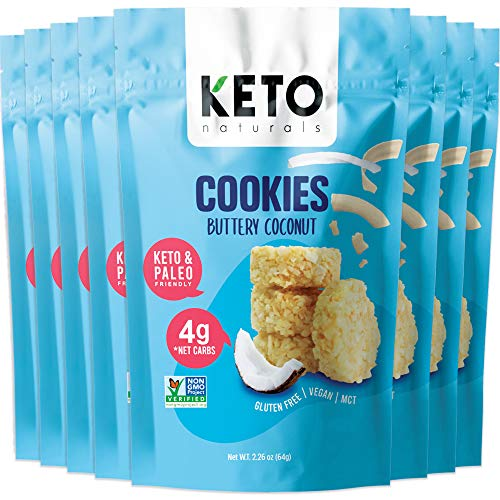 Keto Cookies Buttery Coconut, Healthy Snacks, Keto Friendly, Gluten Free, Low Carb, Healthy Snack - Sweet, Diet Friendly Dessert – Ketogenic Food with Natural Ingredients, Pack of 8 x 2.25 oz Bags. 1
