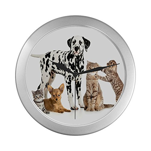 Dalmatian and Kitty Decorative Living Room Clock - unique Silver Lining