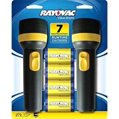 Rayovac Value Bright 9-Lumen 2D Economy Flashlight Twin Pack with Batteries (EVB2D2D-BD9B)