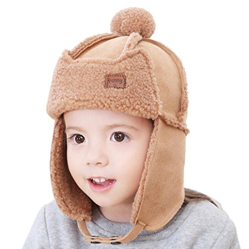 Aviator Khaki (Baby Boys Earflap Hat, Misaky Winter Warm Pilot Aviator Crochet Caps (Khaki))