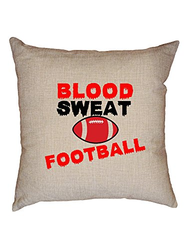 Nfl Novelty Pillow - Hollywood Thread Trendy Cool Blood Sweat Football Unique Graphic Decorative Linen Throw Cushion Pillow Case with Insert