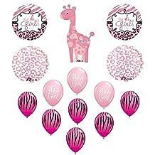 IT'S A GIRL Giraffe Zebra Cheetah Baby Shower Balloons Decoration Supplies Pink by Anagram
