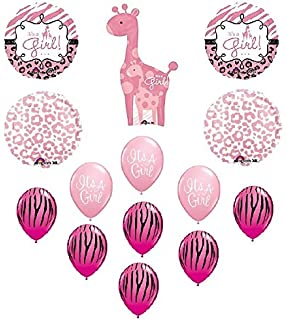 Amazon Com Giraffe Girl Safari Jungle Brown Pink Baby Shower 13