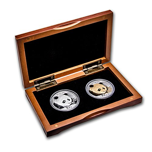 Panda Coin Set (CN 2018 China 2-Coin 30 g Silver Panda & Gilded Silver Panda Set BU Brilliant Uncirculated)