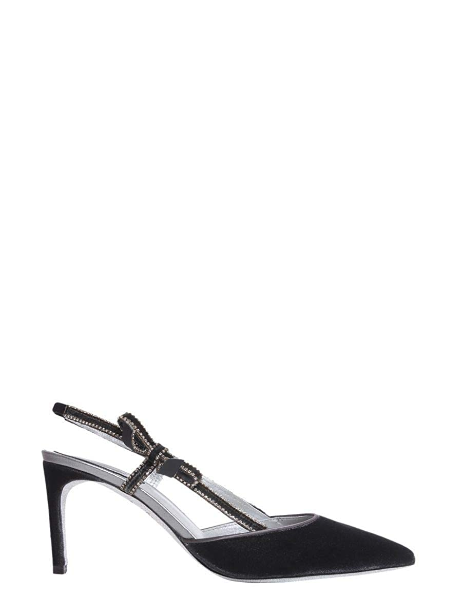 - Rene Caovilla Women's C09243075VL01V280 Black Velvet Heels